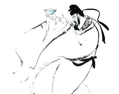 李白 醉酒 手绘线条